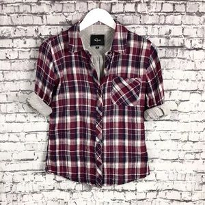 RAILS Red Plaid Check Flannel Long Sleeve BlouseXS